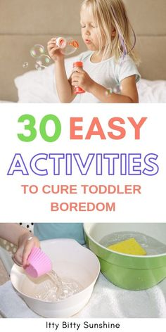 A list packed full of fun, low-prep activities for your toddler to do they are bored! activities 30 Easy Activities to Cure Toddler Boredom ~ Itty Bitty Sunshine Indoor Activities For Toddlers, Activities For 2 Year Olds, Toddler Learning Activities, Summer Activities For Kids, Infant Activities, Preschool Activities, Educational Activities For Toddlers, Physical Activities, Family Activities