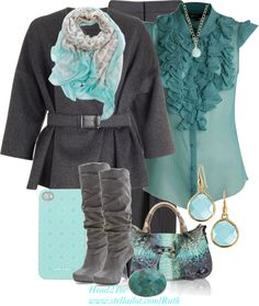 """Grey..with turquoise"" by michelleruth on Polyvore"