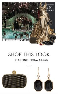 """My Great Gatsby-Themed Outfit"" by lagyare ❤ liked on Polyvore featuring Gatsby, Rubin Singer, Alexander McQueen, Irene Neuwirth, Chanel, White House Black Market, drop earrings, ankle tie sandals, long earrings and gold shoes"
