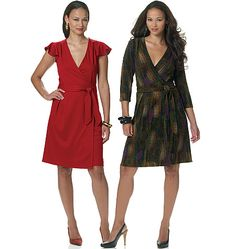Butterick See B5546 Faux Wrap Dress. Suitable for moderate stretch knits only.