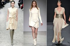 """8 New Color Trends Better Than Oxblood - Eggshell: """"This creamy off-white color is """"colorful"""" enough to wear without getting wedding-dress vibes and definitely holds up to dirt and stains a lot better than a true white. We love this color on severely cut shift dresses, shorts, and sweatshirts."""""""