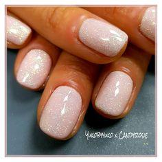 Shellac naked naivete + mermaid effect powder indigo nails # White Shellac Nails, White Sparkle Nails, Blush Pink Nails, Shellac Nail Designs, Acrylic Nails, Summer Shellac Nails, Shellac Nail Colors, Glitter Gel Nails, Gorgeous Nails