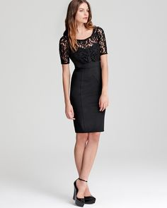 Burberry London Short Sleeve Dress - Black Lace Top