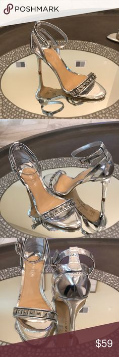 Gianni Bini Mirrored Silver Dress Sandals Gianni Bini sandal. Silver mirrored dress sandal with ankle strap.  Bundle for discount and safe with one shipping fee! Gianni Bini Shoes Heels