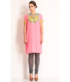 Manish Arora A Baby Pink Tunic With Contrast Applique Embroidery At Neckline., http://www.snapdeal.com/product/manish-arora-pink-cotton-tunic/898361889