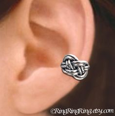 Sterling Silver. Irish Celtic Knot ear cuff cartilage earrings for men and women. Unique handmade jewelry by RingRingRing on Etsy.