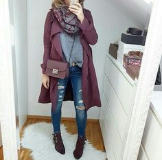 burgundy-coat-with-grey-ree-and-blue-jeans- Fashion fall winter trends for 2017 http://www.justtrendygirls.com/fashion-fall-winter-trends-for-2017/