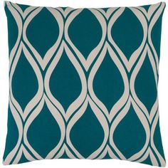 Somerset Teal and Light Gray 22-Inch Pillow with Down Fill