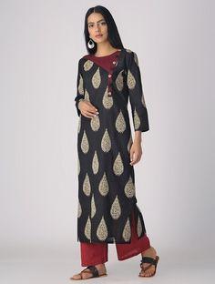 Black Kalamkari Cotton Kurta with Stitch Detail Silk Kurti Designs, Kalamkari Designs, Salwar Designs, Kurta Designs Women, Kurti Designs Party Wear, Neck Designs For Suits, Neckline Designs, Dress Neck Designs, Designs For Dresses