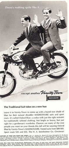 1965 Playboy Menswear Ad, Varsity-Town Madisonaire Fashions, Two Guys in Suits Riding Honda Motorcycle