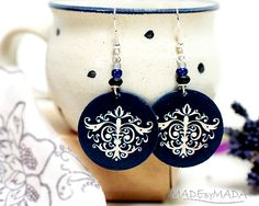 Damask Ornamental French style - decoupage earrings - double faced - size 3cm Ø
