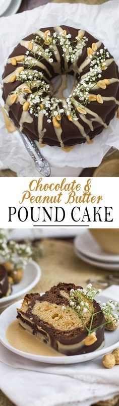 Chocolate and Peanut Butter Pound Cake with perfect chocolate glaze and peanut butter sauce | Schokoladen Erdnussbutter Gugelhupf mit glattem Schokoladenüberzug und einer Erdnussbutter Sauce