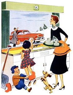 Winter Weekday - Christmas - snow - family - mid century modern