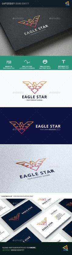 Eagle Star Logo Design Template Vector #logotype Download it here: http://graphicriver.net/item/eagle-star/12647311?s_rank=1776?ref=nexion
