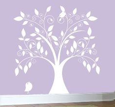 vinyl wall decal tree | White Tree With Birds Vinyl Wall Art Decal review at Kaboodle