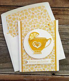 handmade get well card ... Lemon Or No Lemon ... monochromatic ... cup of tea ... envelope liner matches the main panel ...