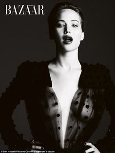 Sheer thing: Oscar-winning actress Jennifer Lawrence poses for Harper's Bazaar in a stunning haute couture dress