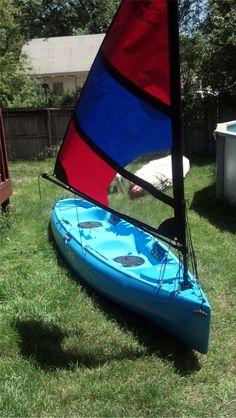 Hobie OdysseyKayak with a 1 square meter falcon kayak sail. Sailing Kayak, Canoe And Kayak, Kayak Fishing, Kayaking With Dogs, Kayaking Gear, Canoa Kayak, Outdoor Camping, Outdoor Life, Canisters