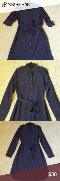 "GAP Silk/Cotton Navy Shirtdress sz M GAP military-inspired shirtdress in navy, sz M.  Comes with a ribbon belt but can easily be written without since there are no belt loops.  55% silk 45% cotton, hand wash cold. Approx 41"" from shoulder to hem, waist approx 19.5"". No rips or stains; comes from a smoke- and pet-free home. GAP Dresses Long Sleeve"