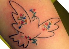 Pinned said: This piece is one of Picasso's Dove series. It is on my inner left forearm. I got it as a symbol of peace and freedom, to mark my two year sobriety anniversary. Done by Miss Clare Jordan in Connecticut. Memorial Tattoos, Body Art Tattoos, Tatoos, Dove Tattoos, Heart Tattoos, Picasso Dove, Pablo Picasso, Picasso Tattoo, Cool Tats