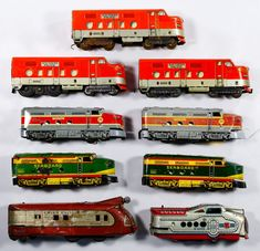 Lot 298: Marx Model Train Assortment; Nineteen metal items including seventeen locomotives power and dummy and two cars