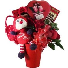"""Art of Appreciation Gift Baskets Love Bug Valentine's Day Chocolate and Candy Gift Set Send this delightful gift for Valentine's Day, an anniversary, or just to say """"I love you."""" Each basket is hand crafted with attention to detail and tied with a bow for presentation."""