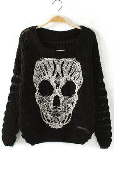 Skull Cutout Sweater - OASAP.com