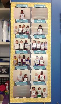 Fun birthday board in my second grade classroom! Students were grouped by month and held their birthdays up on whiteboards. They loved it. New Classroom, Classroom Setting, Classroom Setup, Classroom Design, Classroom Displays, Kindergarten Classroom, Birthday Display In Classroom, Birthday Wall, Birthday Calendar Classroom