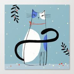 Buy HOLIDAY CAT Canvas Print by terryrunyan. Worldwide shipping available at Society6.com. Just one of millions of high quality products available.