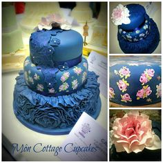 This cake was at the Cake and Bake Show in Manchester England over the weekend and was inspired by Vera Wangs perfume Floral Rush colours of Navy, lilac and green. I also made my own moulds using MYOMs mould kit and applique lace.