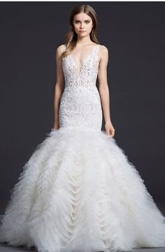 V-Neck Fit and Flare Wedding Dress  with Natural Waist in Tulle. Bridal Gown Style Number:33473547