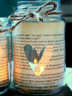 Reuse old book pages and jars for tea lights