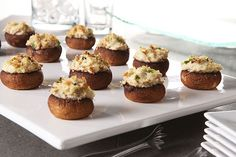 Guests will be deliciously surprised when they bite into these cream-cheese-stuffed mushrooms and taste succulent crabmeat.