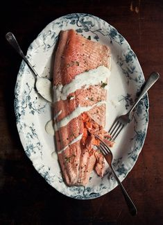 /poached ocean trout with tarragon, lemon and champagne sauce