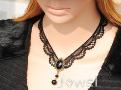 New Arrival Sexy Black Lace with Pearl Vintage Style Lady's Necklace: jewelhall.com