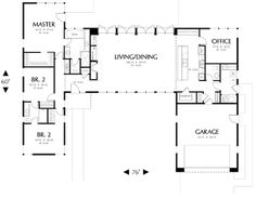 Houseplans.com Modern Main Floor Plan Plan #48-477