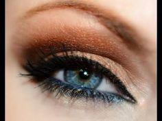 Dramatic gold & brown makeup