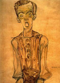 Egon Schiele, Zelfportret, 1910, waterverf op papier, 44.4 x 31.6 cm, privécollectie