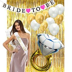 Package Include Metallic Foil Fringe Curtains To Be Sash Ring Foil Balloon Veil To Be Banner Latex Balloons(White and Gold) Features PACKAGE CONTENT:Gold metallic tinsel foil fringe curtains,bride to be sash,diamond ring foil. Fringe Curtains, Cool Curtains, Curtains With Rings, Bride To Be Banner, Bride To Be Sash, Foil Balloons, Latex Balloons, Shower Kits, Bachelorette Party Decorations