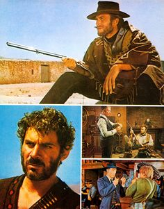 Clint Eastwood, Gian Maria Volonte, Lee Van Cleef and Klaus Kinski in the 1965 Sergio Leone Spaghetti Western, For a Few Dollars More (1965).
