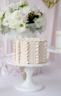 Lovely Vanilla Ruffle Cake
