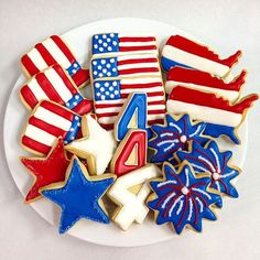 Fourth of july cookies, decorated sugar cookie gift box, 18 cookies Summer Cookies, Fancy Cookies, Cut Out Cookies, Iced Cookies, Royal Icing Cookies, Cookies Et Biscuits, Heart Cookies, 4th Of July Desserts, Fourth Of July Food