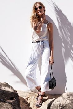 Sunglasses: le fashion image, blogger, tank top, cropped jeans, white pants, summer outfits, black sandals, white tank top - Wheretoget