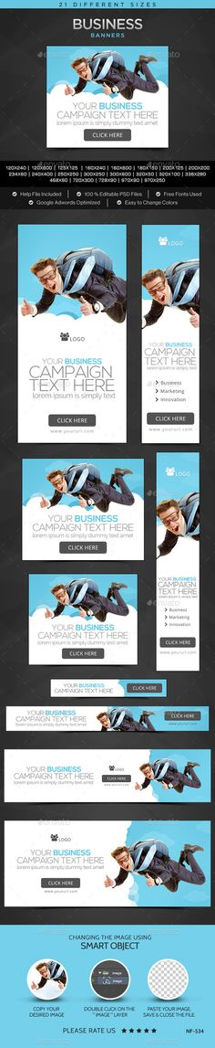 Buy Business Banners by Hyov on GraphicRiver. Promote your Products and services related to any niche with this great looking Banner Set. Website Promotion, Buy Business, Banner Template, Goods And Services, Banner Design, Web Banners, Social Media, Templates, Flat Design