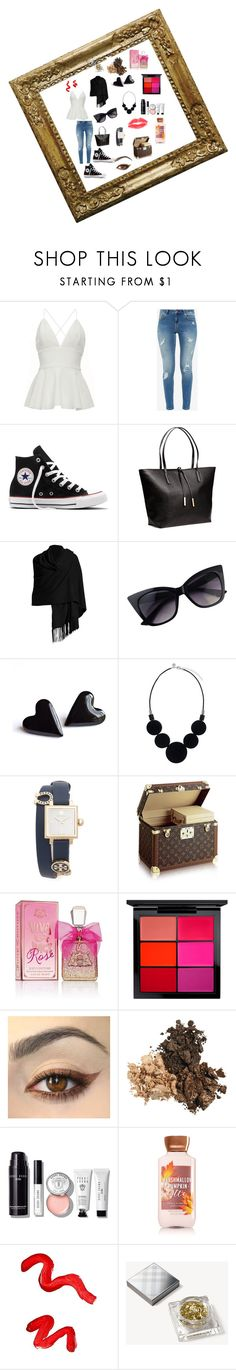 """Created in the Polyvore iPhone app. http://www.polyvore.com/iOS"" by maria-jesus-da-silva ❤ liked on Polyvore featuring Ted Baker, Converse, H&M, Minnie Rose, Tory Burch, Juicy Couture, MAC Cosmetics, Bobbi Brown Cosmetics, Topshop and Burberry"