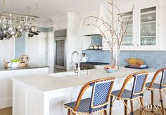 blue and white coastal kitchen | Carrier and Company Interiors