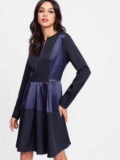 V Notch Front Satin Panel Dress -SheIn(Sheinside) Panel Dress 22afdaa83