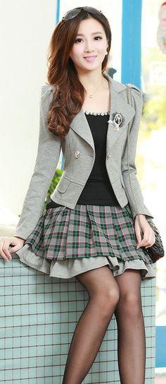 Blazer, Mini A-line Skirt, blazer and skirt Set, fashion set, matching clothes, matching blazer, matching skirt, matching outfit, YRBfashion, Korean matching outfit