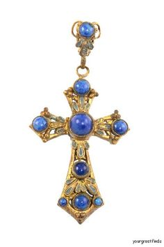 vintage lapis lazuli Holy Cross pendant at yourgreatfinds