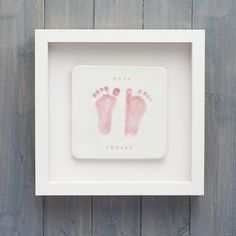 Two adorable little feet captured in clay, hand painted and framed in a stunning bespoke box frame #printsinclay #buckinghamshire #baby #keepsake #gifts